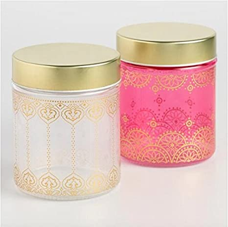 Decorative Glass Storage Display Containers Jars With Lid PINK CLEAR AND  GOLD Inspired By Moroccan Tea