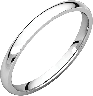 Jewels By Lux 925 Sterling Silver 2.5mm Half Round Light Wedding Ring Band