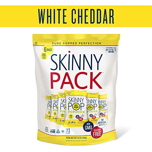 SkinnyPop Popcorn, Skinny Pack, White Cheddar, 0.65oz bags (Pack of 6)