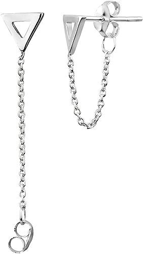 Lady Simple Geometric Triangle Metal Strip Short Tassel Chain Necklace New x