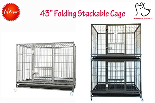 Homey Pet 43'' Stackable or Non-Stackable Heavy Duty Cage W/ Feeding Door, Casters and Tray (Stackable Economic) by Homey Pet