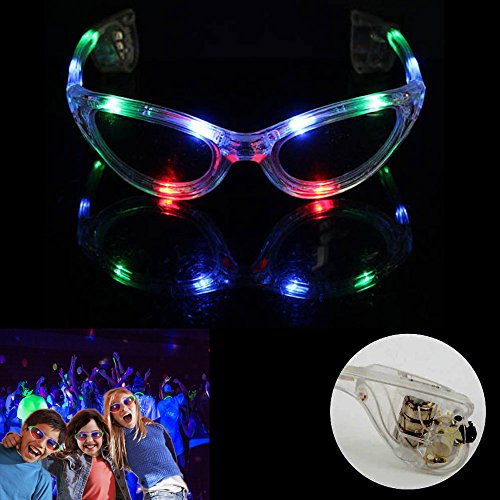 dazzling toys LED Flashing Sunglasses Kids Light Up Blinking Sun Glasses Set of 2 Battery Operated Multi-Color Rave Party Accessory Glasses Novelty Party Favors ()
