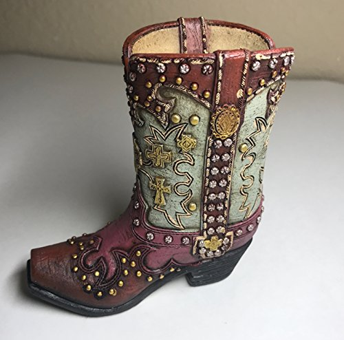Polly House Small Western Cowboy Cowgirl Rustic Pink/Green Cross Boot Vase Toothpick Pen Pencil Holder (C)