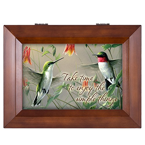 (Cottage Garden Hummingbirds Enjoy The Simple Things Wood Finish Jewelry Music Box - Plays Tune You are My Sunshine)