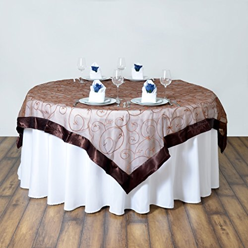 Brown Overlay (BalsaCircle 60x60-Inch Chocolate Brown Organza Table Overlays - Wedding Reception Party Catering Table Linens Decorations)