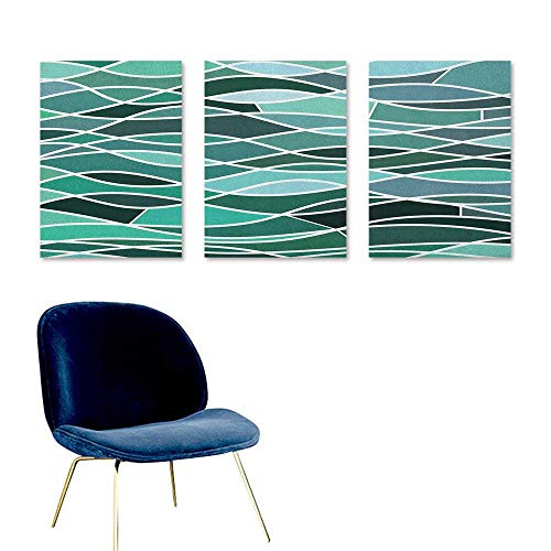 (Seafoam Canvas Print Artwork Stained Glass Pattern with Wavy Lines and Mosaic Abstract Geometric Composition Easy Care Oil Painting 3 Panels 16x24inch Multicolor)