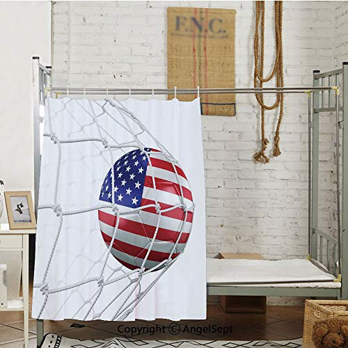 - USA American Flag Printed Soccer Ball in a Net Goal Success Stylized Artwork School Bedroom Curtain,(78.7