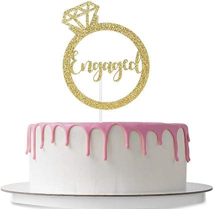 Engagement Cake Decoration Wedding//Engagement//Bridal Shower Party Decoration Supplies Gold Glitter Engaged Cake Topper