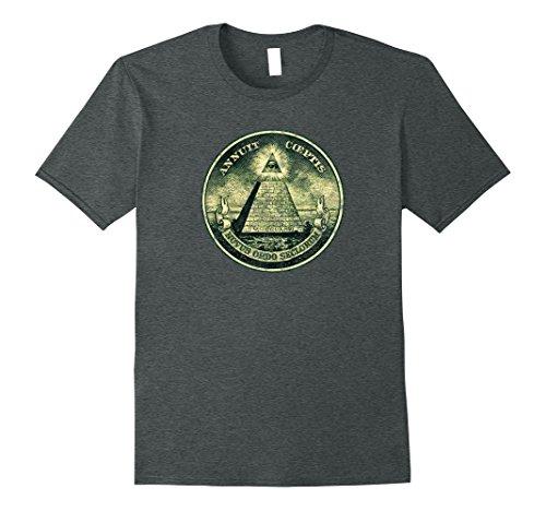 Mens VINTAGE DOLLAR BILL Note All Seeing Eye Illuminati T-shirt 3XL Dark - All Shop Yuma