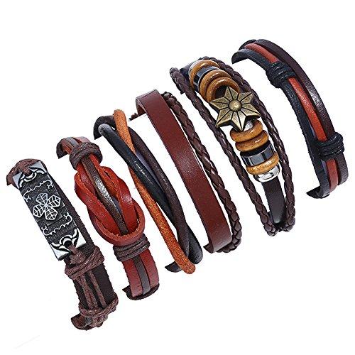 Adjustable Set - SAEONS 6 Pcs Braided Leather Bracelets Set for Men Women Cuff Bracelets Wrap Adjustable A