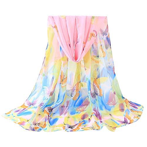HYIRI Ladies Shawl Scarves,Fashion Women Lotus Printing Long Soft Wrap Scarf … -