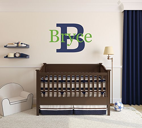 Custom Name Girls Boys Wall Decal Monogram - Personalized Name Wall Decal Sticker Art - Name Vinyl Wall Decal - Name and Initial Decal - Nursery Room Wall Decor - Baby Name Decal