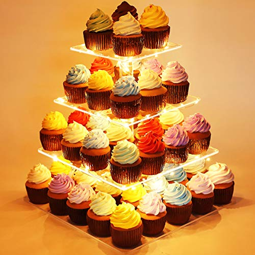 Kootek 4 Tier Acrylic Cupcake Stand with 4PCS Batteries LED String Lights Dessert Tower Tiered Tree Square Cake Display Stands Pastry Serving Platter for Party Wedding Birthday Holidays Baby Shower