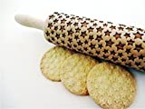 STARS Embossing Rolling Pin. Laser engraved rolling pin. Stars pattern rolling pin