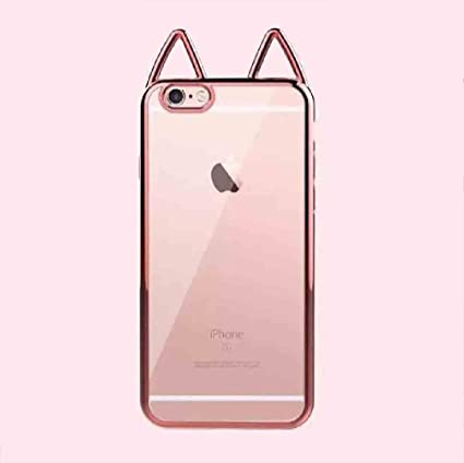 the latest 4bc3e 2123c iPhone 6/6S Plus Cute Cat Ear Case, Super Soft Electroplate TPU Transparent  Cover, OMORRO New Ultralight Slim Protection Case for iPhone 6/6S Plus ...
