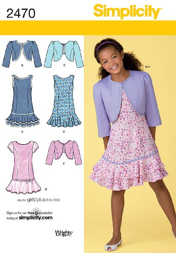Bolero Sewing Pattern - Simplicity Sewing Pattern 2470 Girl's Dresses, AA (8-10-12-14-16)