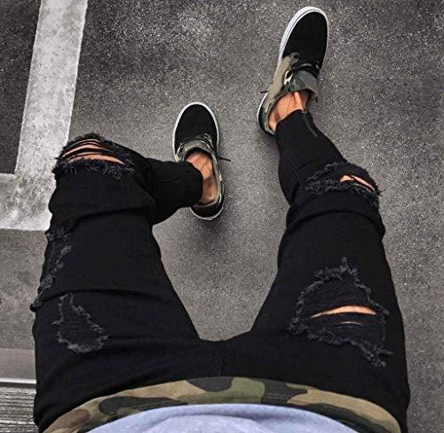 Denim Da Uomo Skinny Nero Slim Fit Strappati Pantaloni Jeans Jogger vwTTx