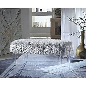 Iconic Home Trento Modern Contemporary Faux Fur Acrylic Leg Bench, Black