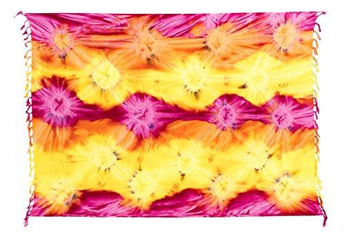 Kascha Trading - Camisola - para mujer Tie Dye Fuchsia Gelb Orange