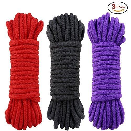 水っぽい賃金アーサーSMグッズ ソフトツイスト 綿 縄 3pcsロープ 太さ8mm×10m (赤黒と紫)