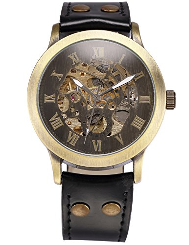 AMPM24 Men's Steampunk Bronze Skeleton Self-Winding Auto Mechanical Leather Wrist Wacth 4