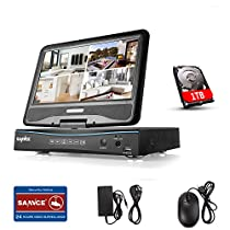 SANNCE 4CH 720P HD Video Monitoring System with 1080N 10.1'' LCD Combo DVR Recorder, Support P2P Technology, Motion Detective, QR Code Scan Phone Remote Access Viewing with 1TB Hard Drive