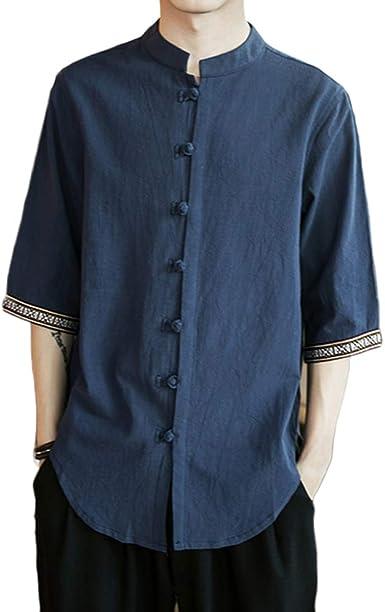GladiolusA Camisas De Lino con Botón Hombre Blusa Suelta Camisa De Kung Fu Estilo Chino: Amazon.es: Ropa y accesorios