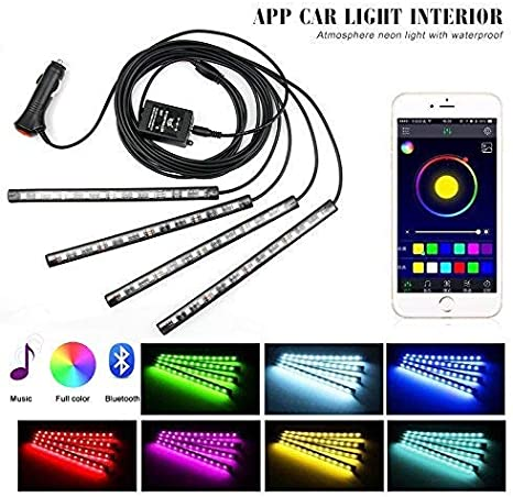 4pcs 48 LEDs Car Decoration Lights with Sound Active Function Multicolor Music Control Rhythm Lights and Wireless IR Remote Control Ralbay Car LED Strip Lights Car Interior Atmosphere Lights USB