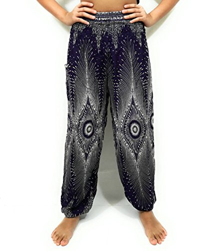 Price comparison product image Kraft4Life BLACK Hippie Hobo Boho Elephant Design Bohemian Pants Woman Yoga Comfy Pants