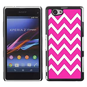 Graphic4You Chevron Pattern Design Hard Case Cover for Sony Xperia Z1 Compact (Mini) (Hot Pink)