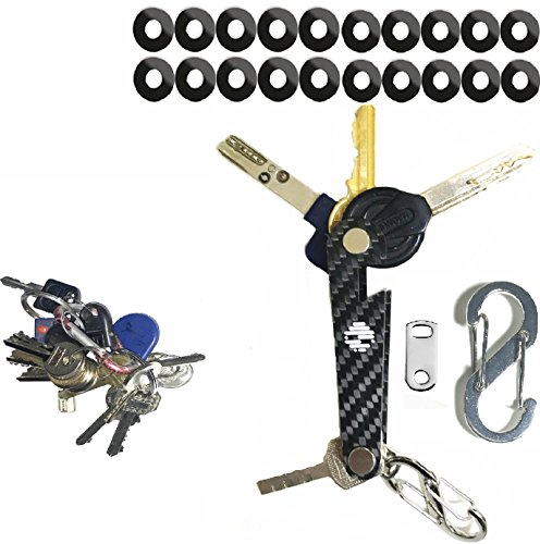 Price comparison product image Smart Compact Key Holder made-of carbon fiber For Those Who like to stay Organized Fits all type of keys Up To 18 Tools Comes With Bottle Opener Carabiner Ring For Car Fobs Including Expansion Screws