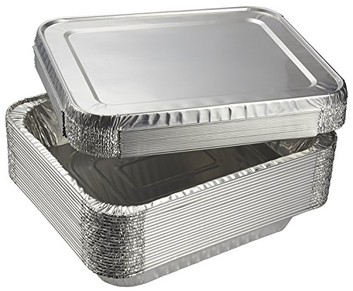 Aluminum Foil Pans - 20-Piece Half-Size Deep Disposable Steam Table Pans with Lids for Baking, Roasting, Broiling, Cooking, 12.75 x 2.25 x 10.25 - Steam Aluminum Pan Table