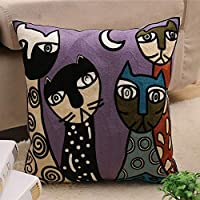 """D C.Supernice Embroidered Cotton Throw Pillow Cover Abstract Pattern Hippy Cushion Cover for Car seat livingroom Bedroom Sofa Office with Invisible Zipper 18""""x18""""(45x45cm)"""