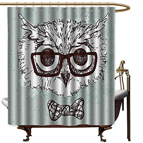 (Bathroom Curtains,Owl Hand Drawn Hipster Geek Bird with Glasses Bow Tie Fun Doodle Sketch,Metal Build,W94x72L,Almond Green White Dark Brown)