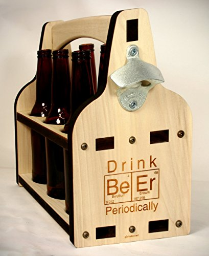 Laser Cut and Engraved Wooden Beer Caddy with Bottle Opener
