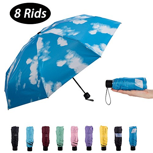 NOOFORMER mini Travel sun & rain windproof Umbrella (8 Rids)- Lightweight Compact Parasol with 95% UV Protection for Men Women Multiple Colors