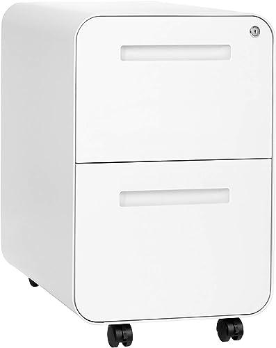 Stockpile 2-Drawer Modern Mobile File Cabinet, Commercial-Grade White