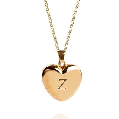 Sheenashona Jewellery Alphabet Z 9ct Gold Heart Locket On A Chain