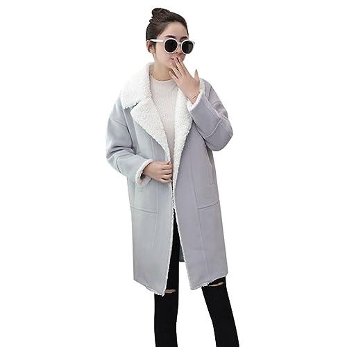 YuanDian Mujer Abrigo Invierno Piel Sintética Espesar Cálido Ajustado Color Sólido Elegante Larga Ch...