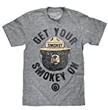 Tee Luv Smokey The Bear T-Shirt - Get Your Smokey On Graphic Tee Shirt (Graphite Heather) (MD)