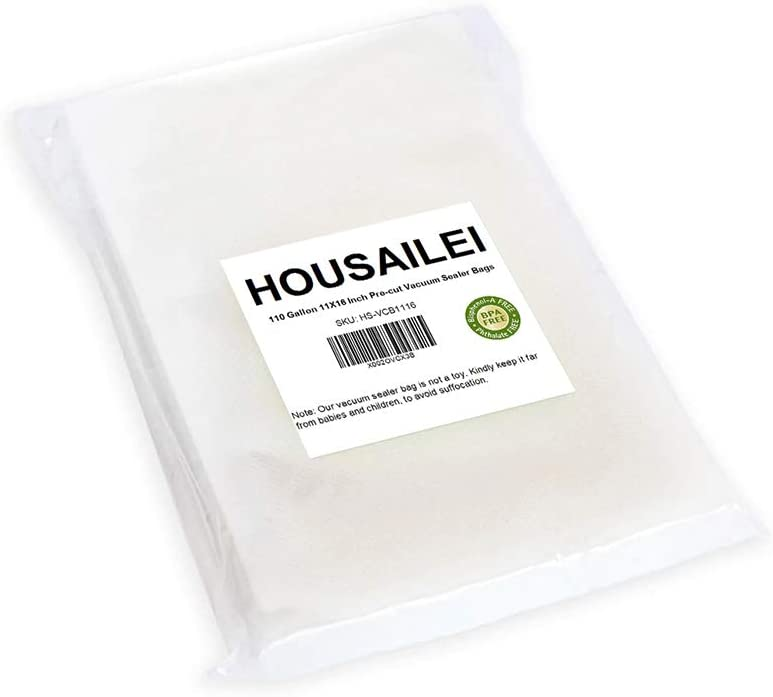 Vacuum Sealer Bag_110 Gallon 11X16 Inch Work with Food Saver,Weston,Seal a Meal Sealers_BPA Free,Heavy Duty Commercial Grade and Pefect for Sous Vide, Meal Prep and Vac Food Storage,by HOUSAILEI