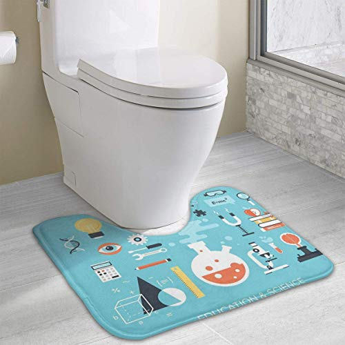 Beauregar Education and Science Contour Bath Rugs,U-Shaped Bath Mats,Soft Polyester Bathroom Carpet,Nonslip Toilet Floor Mat 19.2″x15.7″