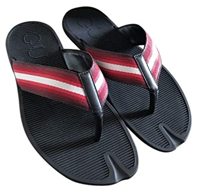 9bd38eff43dca Amazon.com  Gucci Flip-Flop Black Leather Rubber Thong Sandals with Red  White Web 338785 6460  Shoes