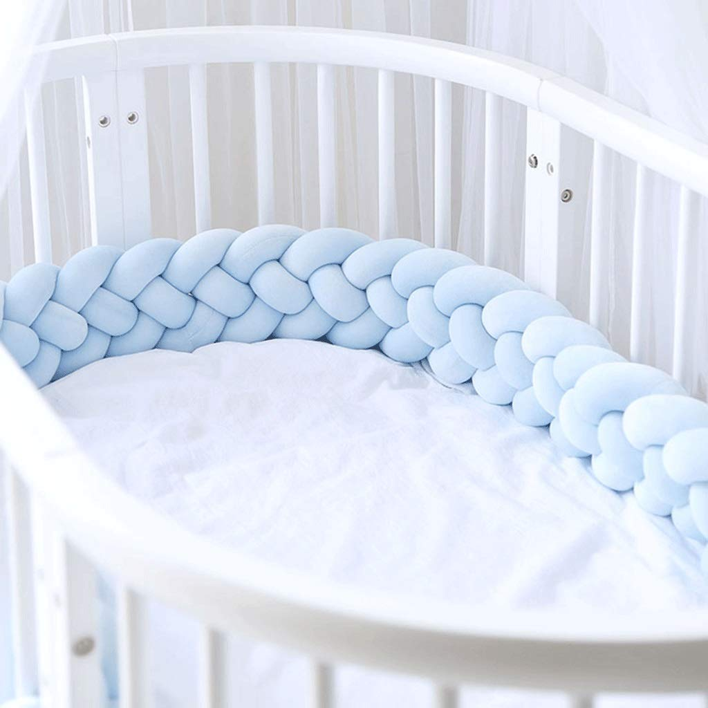 ZCXBHD Cot Bed Bumper Baby Crib Knotted Braided Soft Cot Bumper Braid Pillow for Crib Nursery 100% Velvet Cotton Braid Pillow Protector Anti Allergy (Color : Blue, Size : 2m) by ZCXBHD