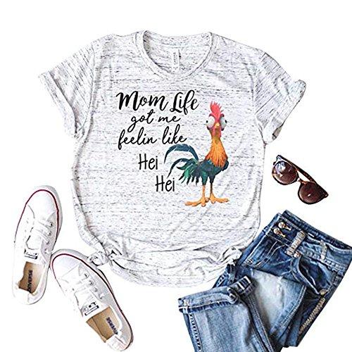 MBQMBSS Women's T-shirt Summer V Neck Shirt Casual Short Sleeved Printed Tops Tee (L, chick) -