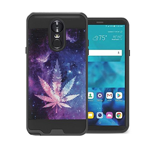 Izumi Case Compatible with LG Stylo 4 Plus, LG Stylo 4, LG Q Stylus [Alpha Hybrid Layer Slick Shockproof Full Body Protection Black Case Phone Cover] for LG Stylo 4 - (Space Leaf Purple)