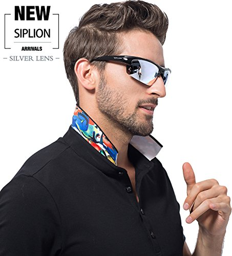 a054d3d32f SIPLION Men s Polarized Sunglasses Sports Glasses for Cycling Fishing Golf  TR90 Superlight Frame 502 Silver