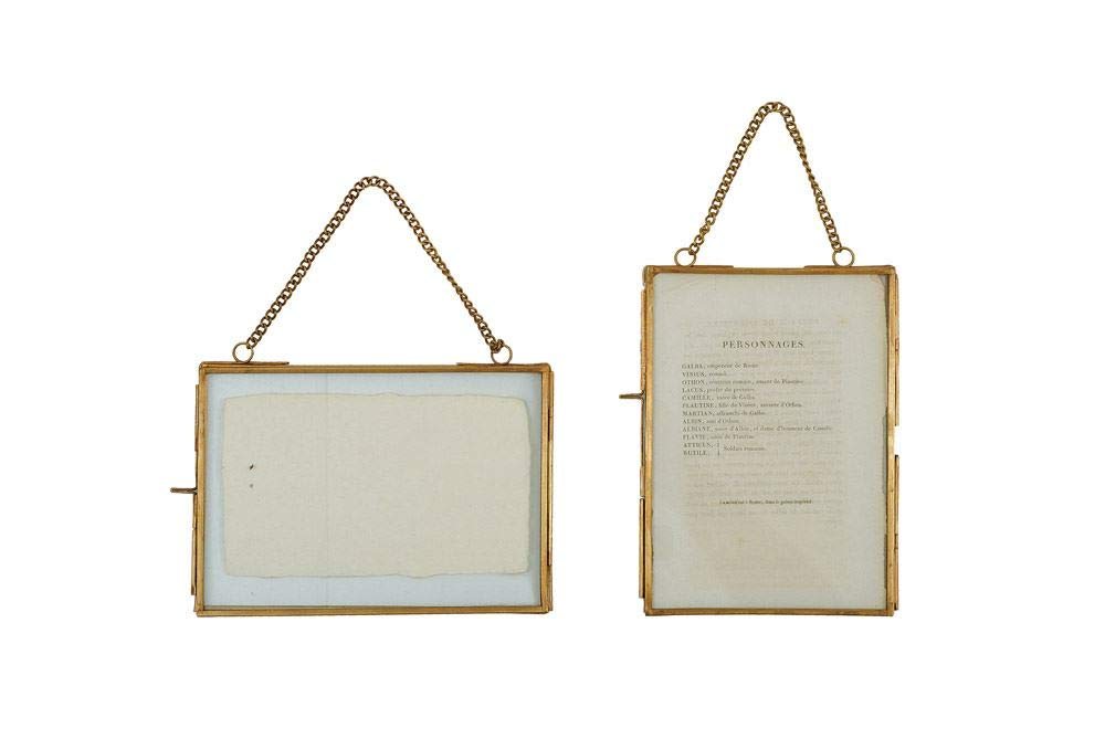 Creative Co-Op Turn of the Century 2 Piece Brass and Glass Picture Frame Set,Gold,5'' by 7''