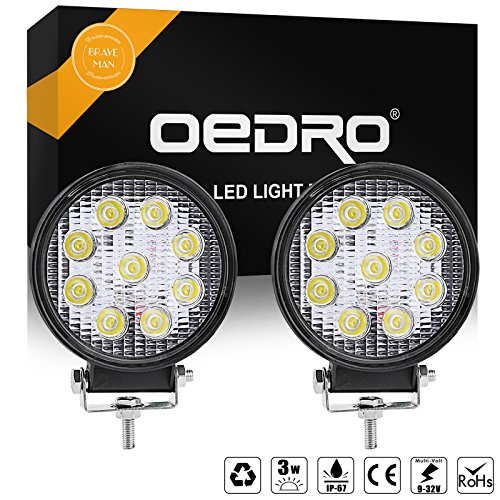 oEdRo 2pcs 12volt 4 Inch LED Work Lights 27W Flood Round Offroad Fog Driving Light Car Boat Bus LED Lights Work Lights Compatible for SUV Jeep ATV UTE 4X4 4WD 3 Years Warranty