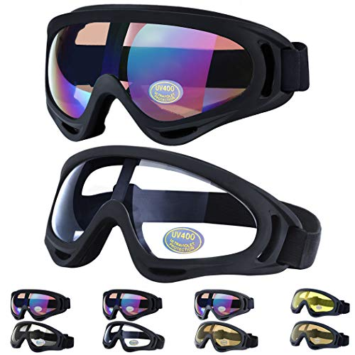 Outgeek Ski Goggles, 2-Pack Skate Glasses with UV 400 Protection Windproof and Dustproof for Snowboard Motorcycle Bicycle (Goggles Cycling Winter)